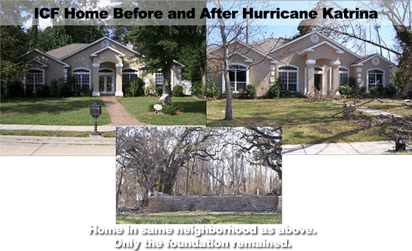 Diaster Resistant Construction with ICF & Concrete - Home Survives Hurricane Katrina - Green Harbor Building Systems GA