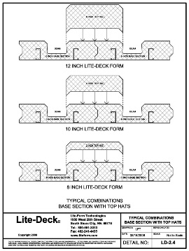 LiteDeck SRS Steel Rib System ICF Concrete Deck Forming Base Section with Top Hats Technical Details Drawing